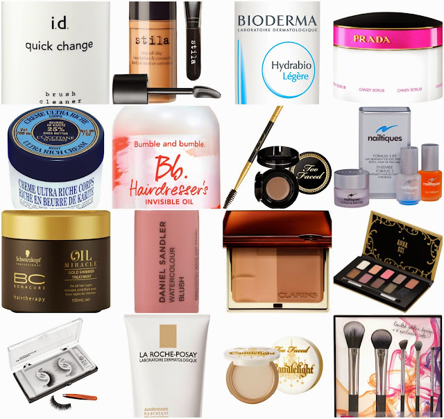Escentual - wishlist - Stila - bareminerals - bioderma - Prada - L'Occitane - Bb. - Too Faced - Nailtiques - schwarzkopf - Daniel Sandler - Clarins - Anna Sui - Mister Mascara - La Roche- Posay - Real Techniques