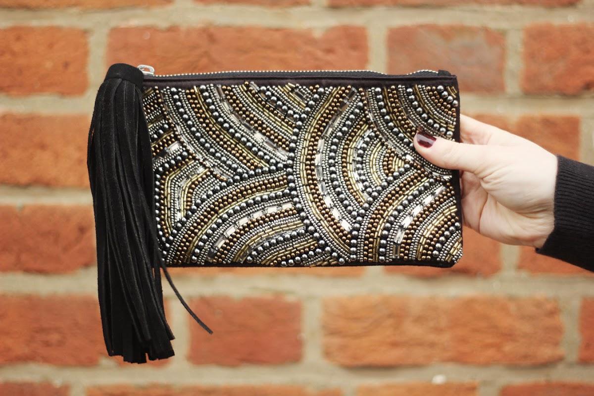 oasis leather embellished clutch bag