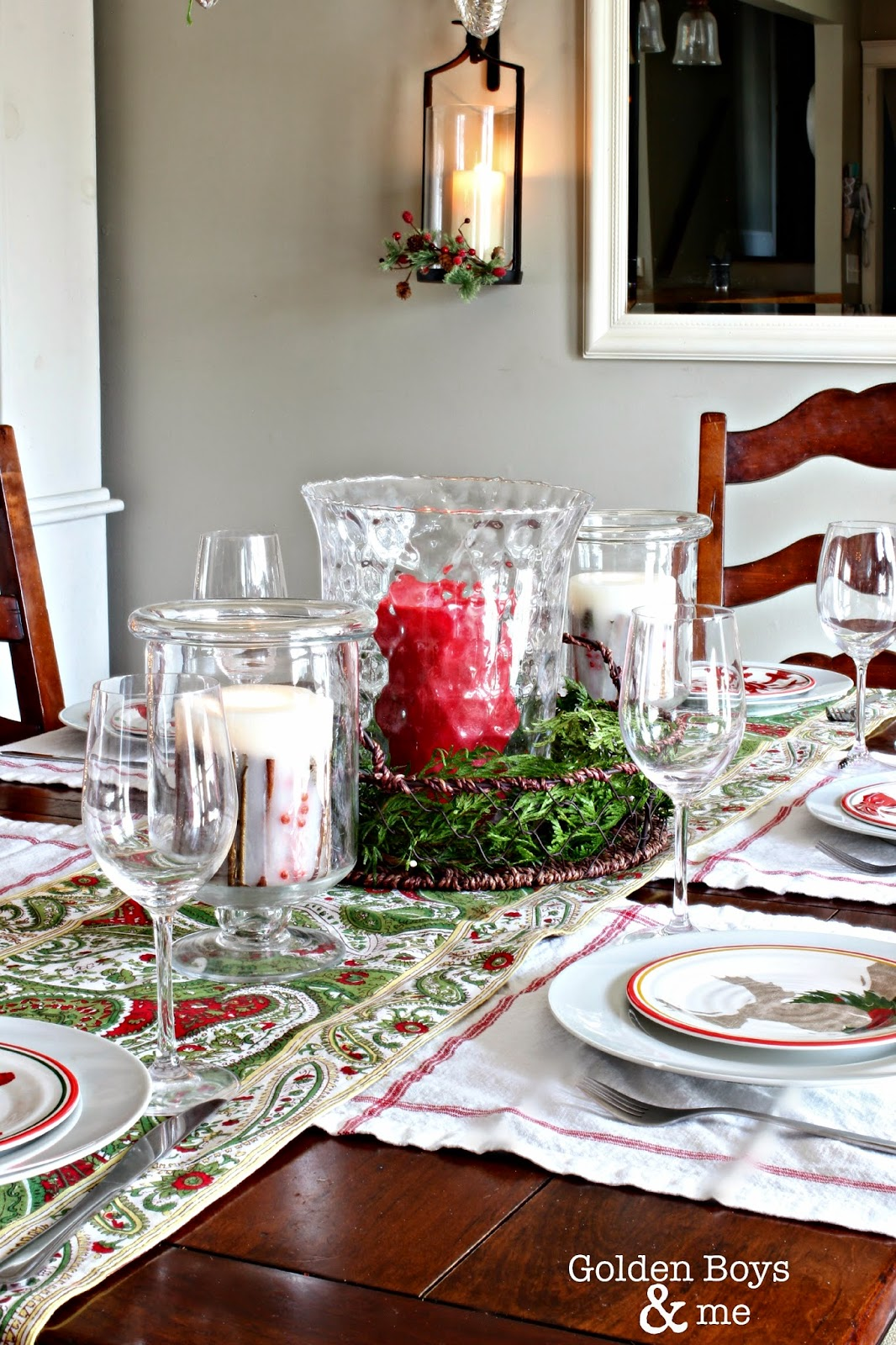 Christmas table decor with Pottery Barn sconce-www.goldenboysandme.com