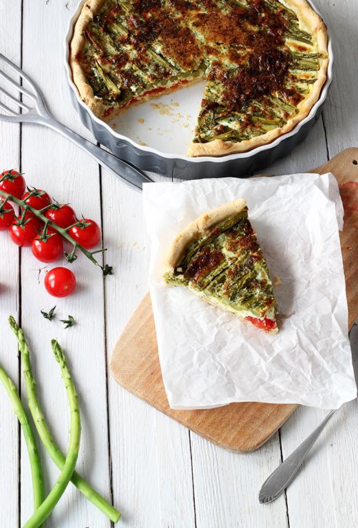 Rezept für Quiche mit grünem Spargel und Tomaten, Holunderweg18