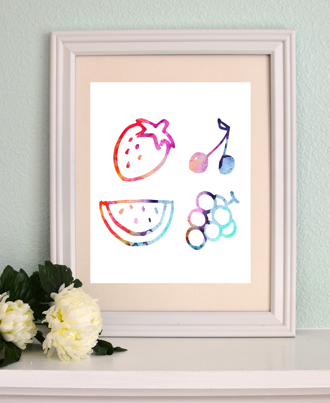 Watercolor fruity printable