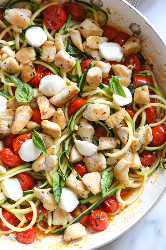 Chicken And Zucchini Noodle Caprese Skinnytaste