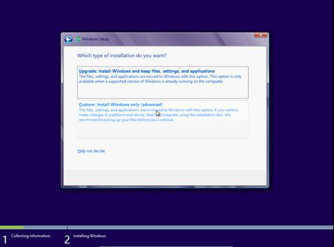 Saya Anjurkan Pilih Custom Install, Jangan Upgrade