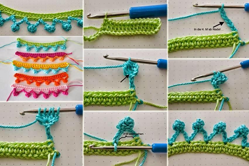Ribete con pequeñas borlas al crochet | Crochet y Dos agujas ...