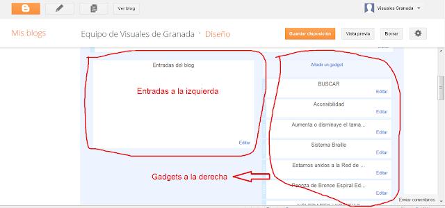 Esta imagen nos muestra el diseño de un blog con las entradas a la izquierda y los gadgets a la derecha