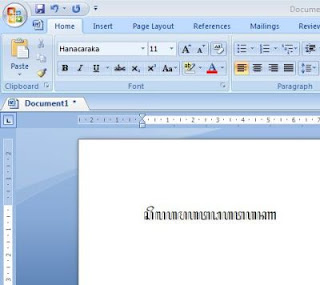 menulis huruf jawa di ms word
