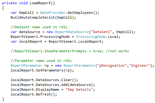 How to write custom code in rdlc report