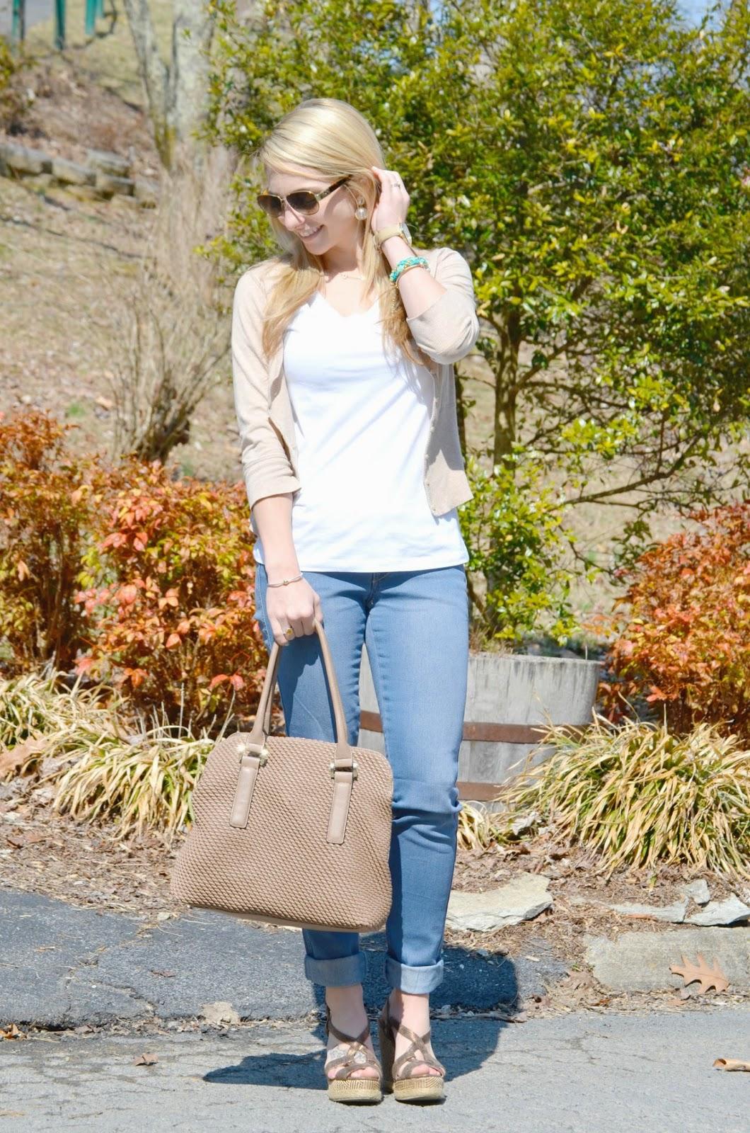 Fashion outfit accesorizing plain white tee