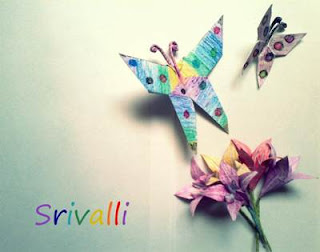 origami lilly, origami butterflies