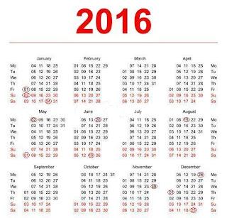 2016, calendar, calendar 2016, zile libere 2016, anul 2016, zile libere legale in anul 2016, codul muncii prevede zile libere legale in anul 2016, sarbatori legale in 2016,