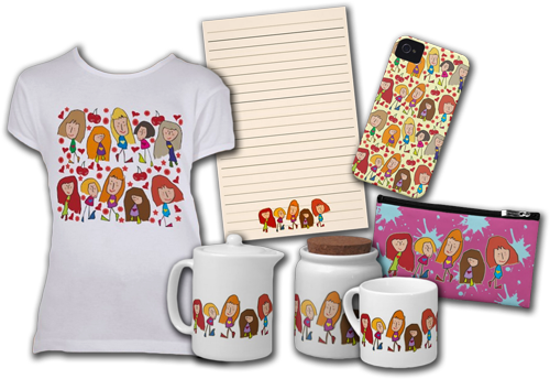 Cartoon Girls Illustration Collection Set for Girls