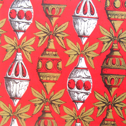 vintage christmas wrapping paper red ornaments