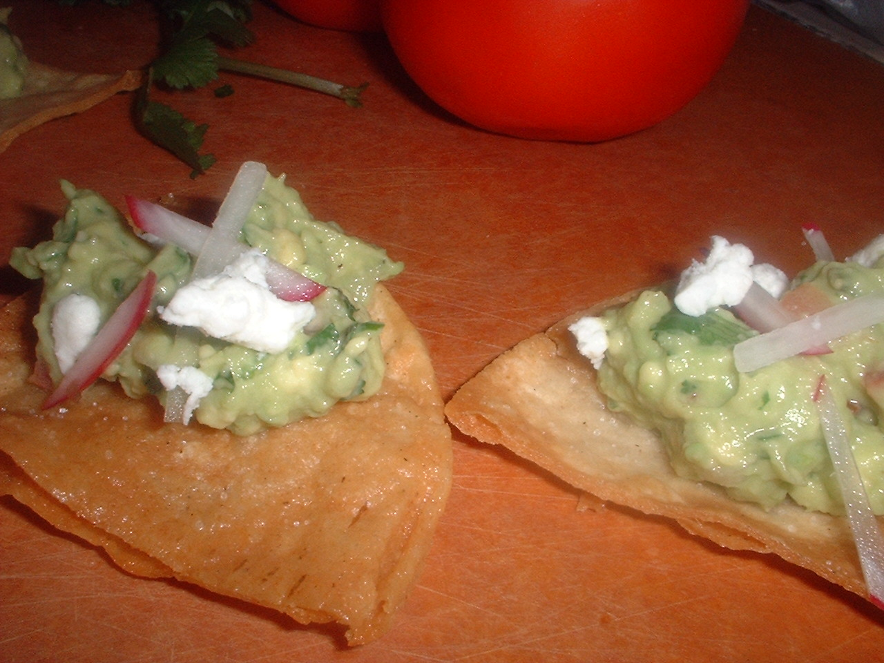 ... Guacamole with Roasted Chile, Cumin and Feta & Homemade Tortilla Chips