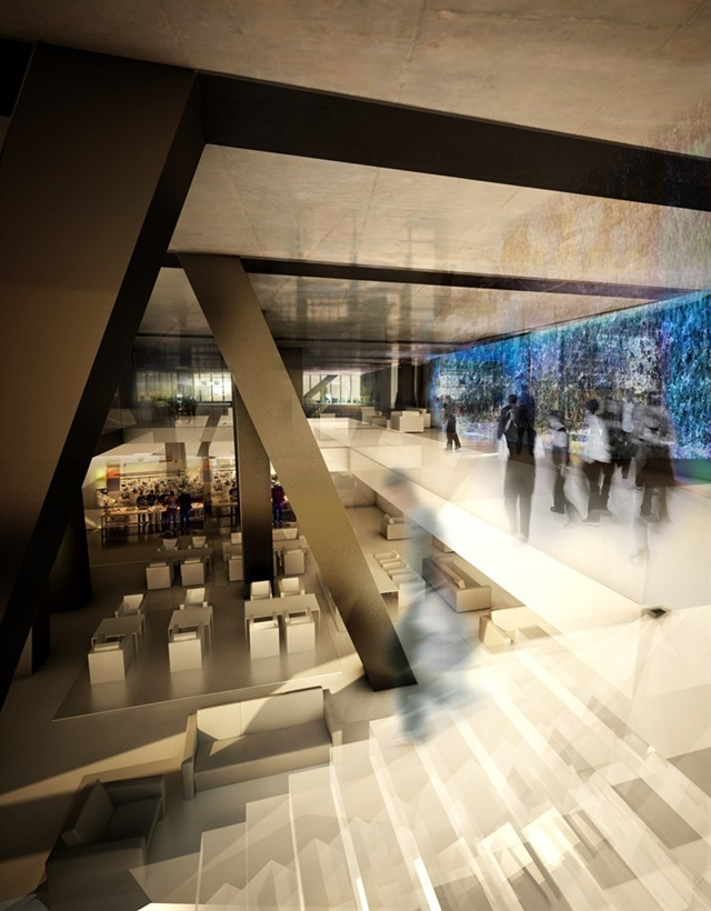 Picture of the lobby in the Tower Verre