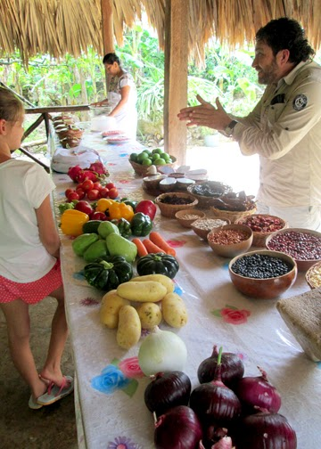 Our tour guide, David, who is also co-owner of The Native Choice, showed us the fruits, vegetables, beans, herbs and spices commonly used in Mayan cooking.