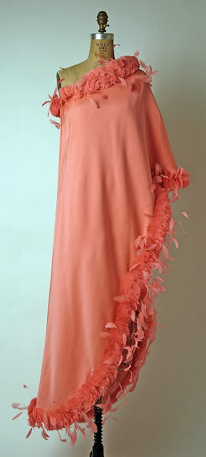 Tea Pink Silk and Feather One Shouldered Gown