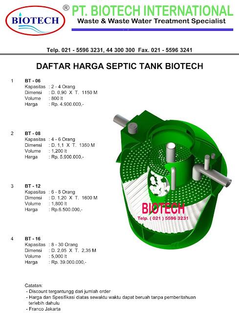 daftar harga septic tank biotech, ipal, stp, produk septic tank biotech, cara pasang, septic tank modern dan baik