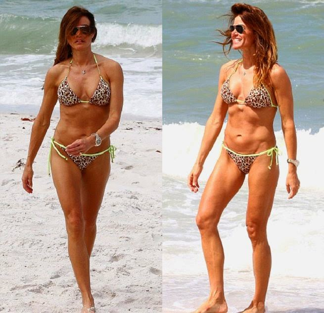 Kelly Bensimon wears a Tiger Bikini at Miami on Sunday, April 20, 2014