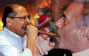 geraldo Alckmin e Naji Nahas fumando charutos