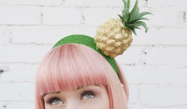 pineapple hat, pineapple fascinator, pastel pink hair, pearls & swine