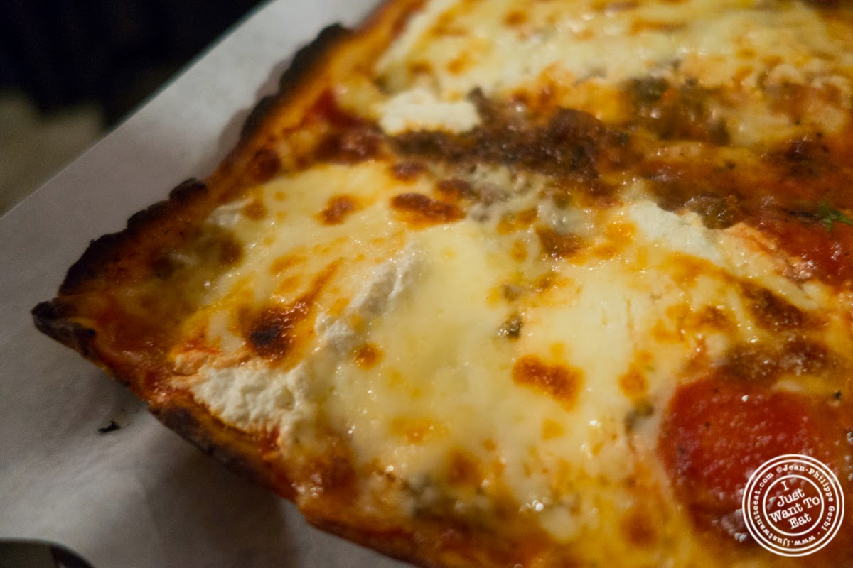 image of lasagna pizza at Lazzara's Pizza and Café in the Garment District, NYC, New York
