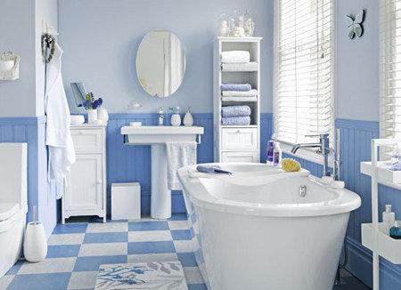 uno de los colores ms utilizados para los baos es el azul el azul claro o varias tonalidades de azul combinadas entre ellas y el blanco crean un efecto