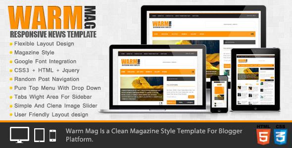Download WarmMag Premium Responsive Blogger Template