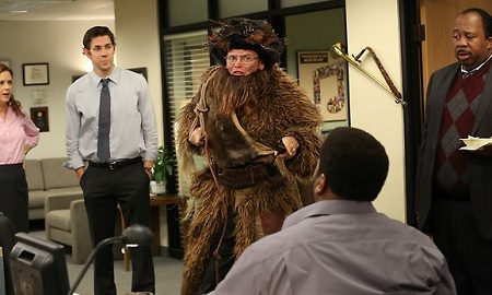 nbcs the office continues the emotional journey of its final season in dwight christmas pam jenna fischer manipulates her co workers into throwing - The Office Dwight Christmas