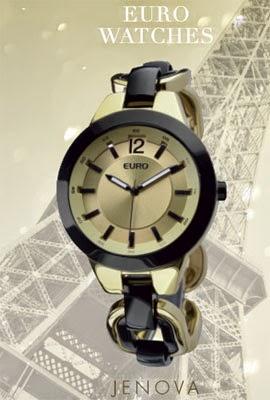 relógio feminino mix de dourado e preto Euro