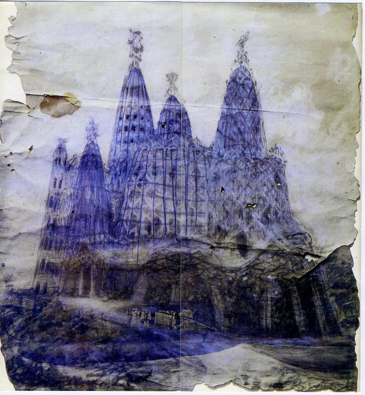 dibujo original de la cripta de la colonia Güell, Gaudí