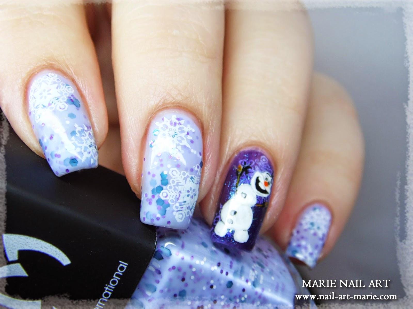 nail art reine des neige Olaf