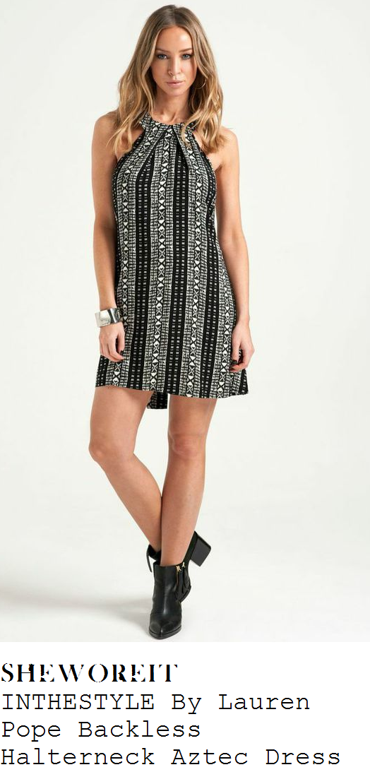 lauren-pope-black-white-grey-aztec-sleeveless-halter-mini-dress
