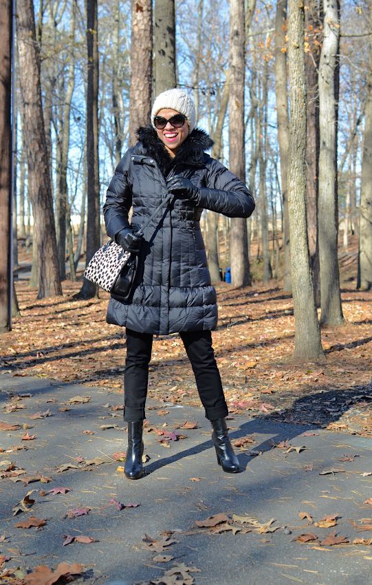 Down coat outfit