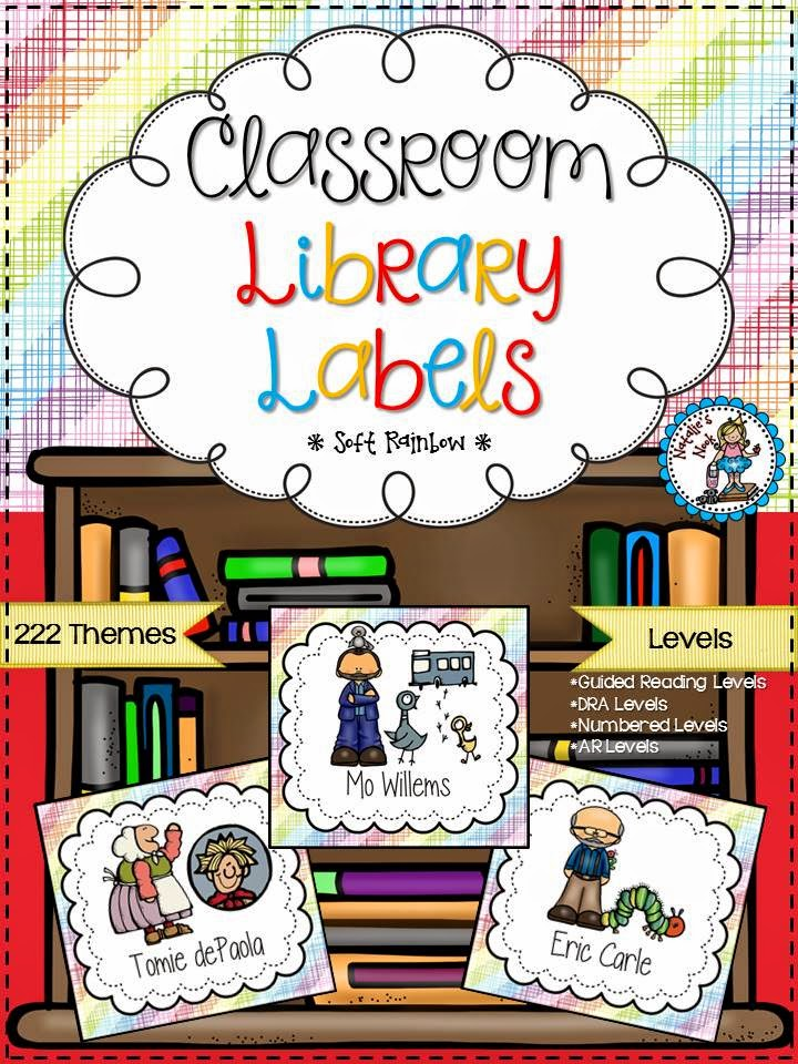 http://www.teacherspayteachers.com/Product/Classroom-Library-Labels-Soft-Rainbow-311490