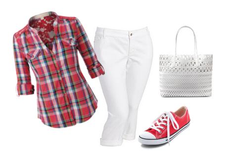 camisa de cuadros rojos y blancos + pantalones corsarios blancos + converse rojas + bolso de piel perforado