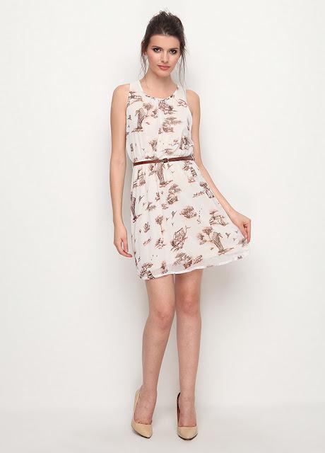 desenli kısa kemerli yazlık elbise