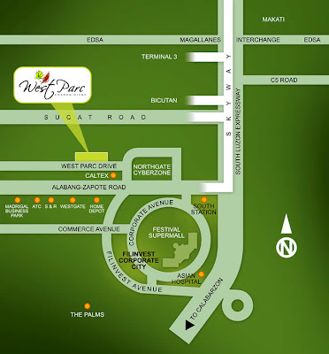 West Parc Alabang Location Map, Condominium for sale in Alabang, Filinvest