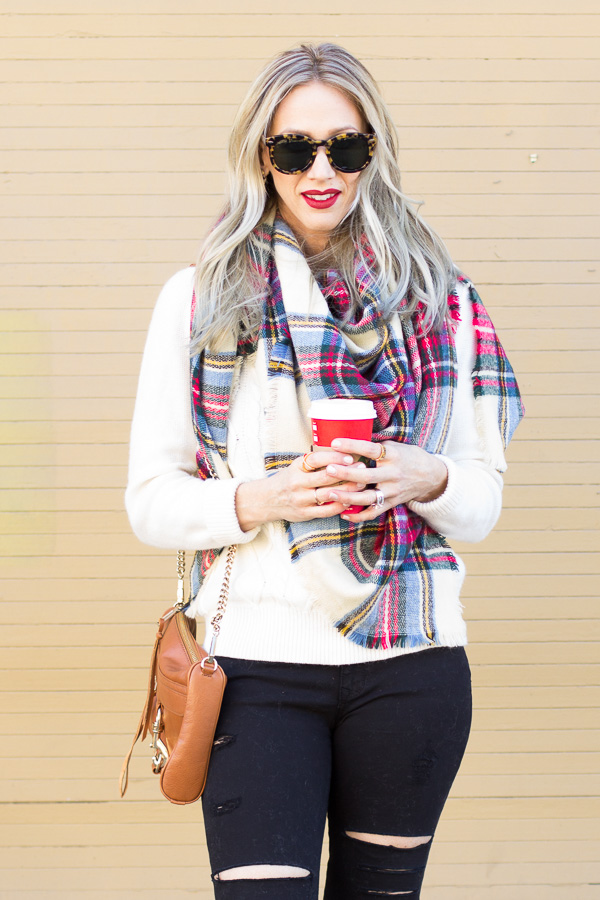 plaid scarf bold red lip