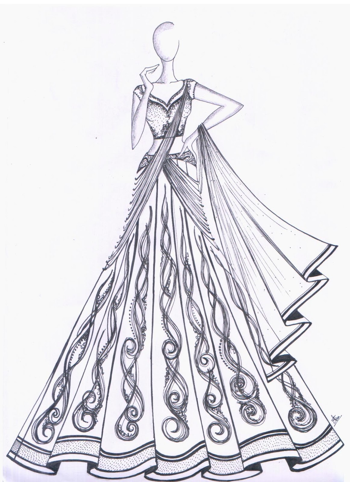 Dress punjabi designing sketches best photo
