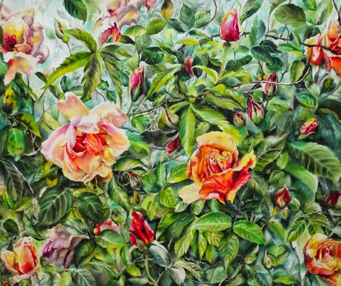 Lina Vila cuadro de flores multicolor