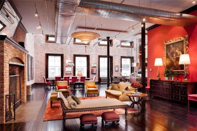 Photo of huge luxury living room interiors in the Tribeca triplex