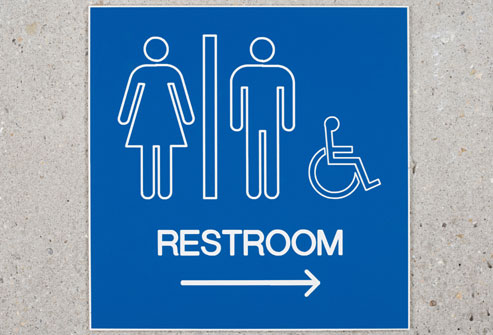 Restroom sign arrow up trouble digesting a food isn t