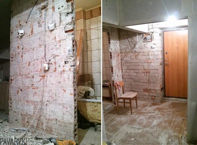 Remontuojamos prieškambario sienos