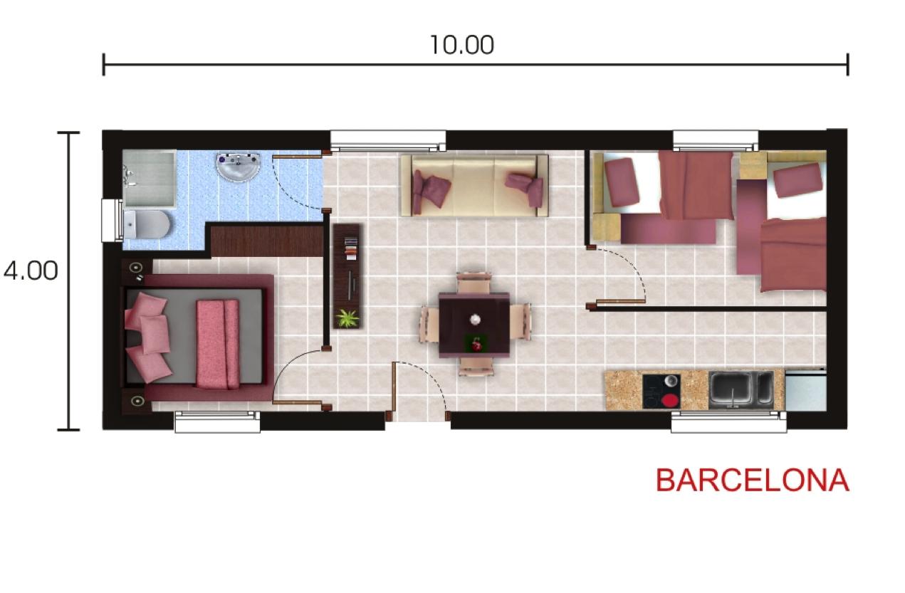 Casas prefabricadas y modulares planos standard for Planos de departamentos de 40m2