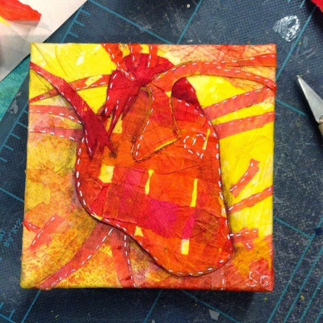 Woven Heart - Paper on canvas. © Samantha Grenier 2015