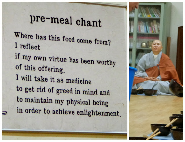 Korean Buddhist temple pre-meal chant