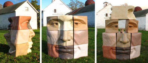 Michael Alfano esculturas de corpos rostos surreais bronze cobre Cúbico