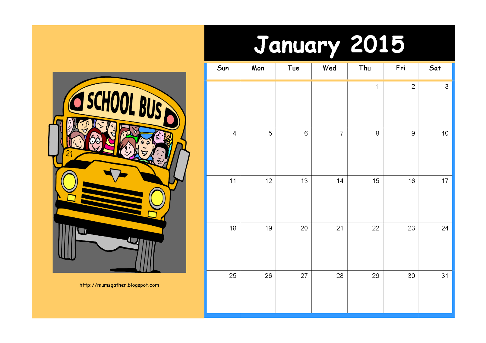 January 2015 Calendar For Kids