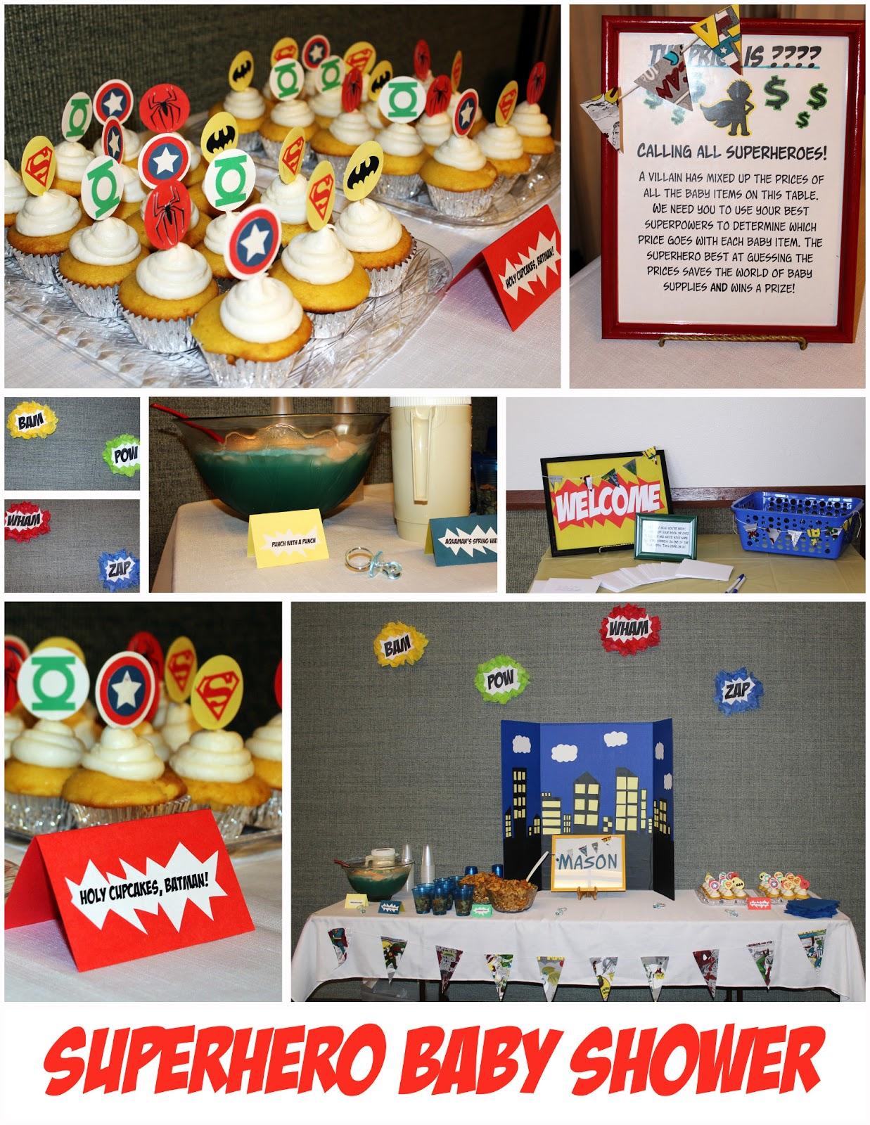 superhero theme baby shower party invitations ideas