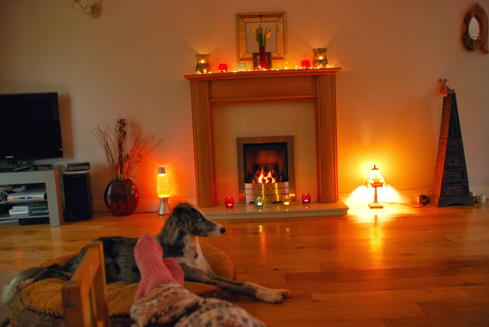 image of home with fairy lights and candles